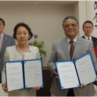 (L-R) Mr. Yukihisa Kitamura, Assistant to the Chancellor (Josai); Dr. Noriko Mizuta, Chancellor – Josai University; Mr. Philip B. Sanvictores, President – PIJLC; Dir. Yukio Doi – Josai University Center for Innovation; Mrs. Patricia Maribel C. Sanvictores