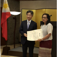 Atty. Teresa Mahiwo, widow of Dr. Sylvano Dong-E Mahiwo, received the Commendation Certificate from Ambassador Ishikawa which was posthumously conferred.