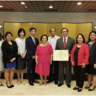 The Sanvictores Family with Ambassador and Mrs. Kazuhide Ishikawa, from L-R: Mr. Philip B. Sanvictores, Mrs. Patricia Maribel C. Sanvictores, Ms. Anna Dominique A. Sanvictores, Mrs. Ishikawa, Ambassador Kazuhide Ishikawa, Mrs. Josefina B. Sanvictores, Ambassador Benjamin F. Sanvictores, Mr. Gerard B. Sanvictores (awardee), Mrs. Bea A. Sanvictores, Ms. Christine Joyce A. Sanvictores, Mrs. Gen S. Sanvictores and Mr. Gerard Anthony A. Sanvictores II.