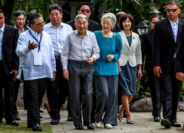 Japanese Emperor Akihito and Empress Michiko  meet  the representatives of the Philippine Federation of Japan Alumni (PHILFEJA), Thursday, January 28, 2016, at the ancient San Diego Garden, located along  the walls of Intramuros in Manila.(Photo by Benhur Arcayan/Malacañang Photo Bureau)