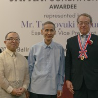 Mr. Tomoyuki Sakurai with Mr. Hiroaki Uesugi, Director of the Japan Foundation Manila, and Mr. Kenjiro Ogata, the first Nihongo teacher dispatched to the Philippines by the Japan Foundation